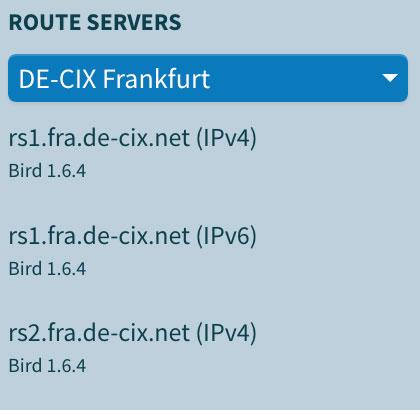 DE-CIX Looking Glass menu to choose route server
